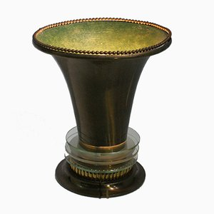 French Art Deco Table Lamp with Bronze Lampshade with Glass Details, 1920s