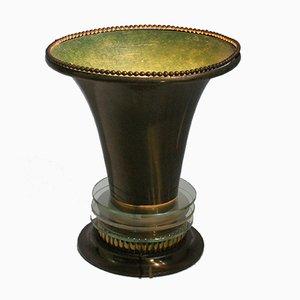 Lámpara de mesa francesa Art Déco con pantalla de bronce con detalles de vidrio, años 20