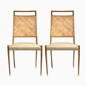 Französische Stühle aus Palisander & Korbgeflecht, 1950er, 2er Set