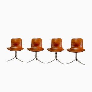 Chaises de Salon PK9 Première Édition par Poul Kjaerholm pour E. Kold Christensen, 1960s, Set de 4