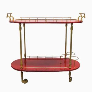 Italian Red Goat Leather Trolley by Aldo Tura, 1950s