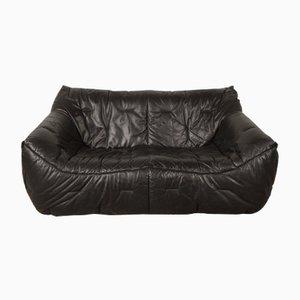 Canapé Vintage à Coque Molle en Cuir Noir par Hans Hopfer pour Roche Bobois