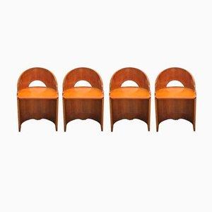 Sillas Mid-Century ovaladas de contrachapado, años 50. Juego de 4