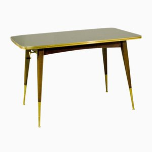 Mid-Century Game Table with Brass with Black and Gold Painted Glass, 1950s