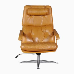 Swedish Leather Swivel Lounge Chair, 1960s