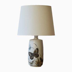 Lámpara de mesa danesa Mid-Century con mariposa de Nils Thorsson para Royal Copenhagen