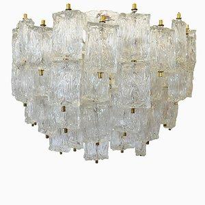 Lámpara de araña vintage grande de vidrio de Aureliano Toso para Venini
