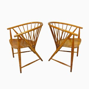 Vintage Sun Feather Chairs by Sonna Rosen for Nässjö Stolfabrik, Set of 2