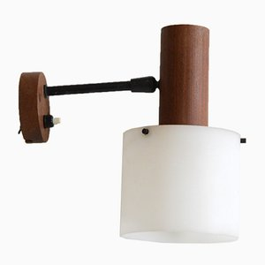 Italian Wall Sconce in Teak and Perspex from Alfaplex, 1950s
