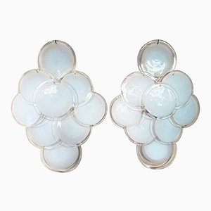 Vintage Wall Sconces with White Glass Discs from Vistosi, Set of 2