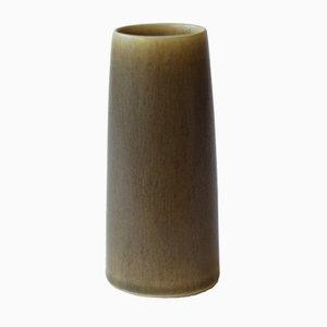 Dänische Olivgrüne Mid-Century Haresfur Glasierte Vase von Per Linnemann-Schmidt für Palshus