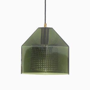 Lámpara colgante en verde de vidrio de Carl Fagerlund para Orrefors, años 60