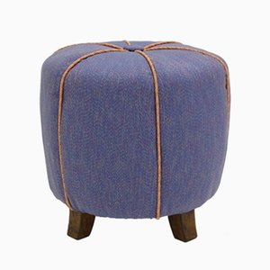 Blue Art Deco Pouf, 1930s