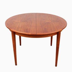 Mesa de comedor redonda de teca, años 50
