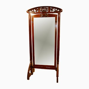 Specchio da terra antico Art Nouveau in legno di noce, Spagna, inizio XX secolo