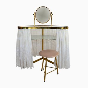 Italian Brass & Glass Dressing Table, 1950s