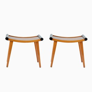 Art Deco-Style Walnut Stools, 1930s, Set of 2