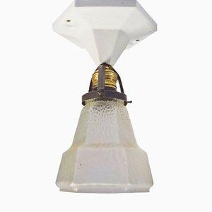 Sechseckige Jugendstil Deckenlampe aus Porzellan, 1910er