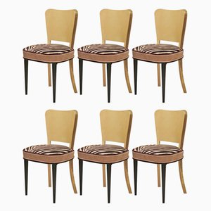 Parchment and Brass Art Deco Chairs, 1940s, Set of 6