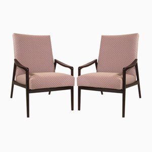 Stained Wood Lounge Chairs, 1950s, Set of 2
