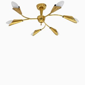 Mid-Century Modern Brass Flush Mount Ceiling Light, 1950s