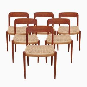 Chaises d'Appoint Modèle 75 par Niels Otto (N.O.) Møller, 1954, Set de 6