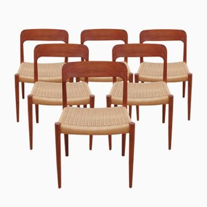 Model 75 Side Chairs by Niels Otto (N.O.) Møller, 1954, Set of 6