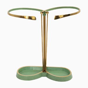 Green Lacquer, Brass & Aluminum Umbrella Stand, 1950s