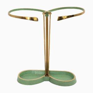 Green Lacquer, Brass & Aluminum Umbrella Stand, 1950s