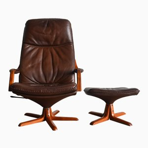 C90 Leather Lounge Chair with Footstool from Berg, 1970s