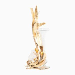 Vintage Vase aus Messing & Bergkristall von Marc D'Haenens
