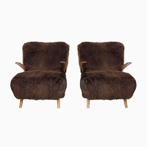 Armchairs in Wood & Brown Sheepskin, 1940s, Set of 2