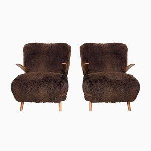 Poltrone in legno e pelle di pecora marrone, anni '40, set di 2