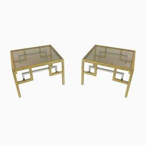 Mesas auxiliares vintage de metal dorado de Belgo Chrom. Juego de 2