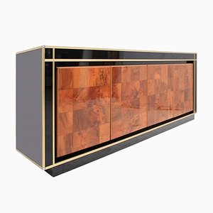 Wooden Sideboard in Metal and Crystal Glass by Willy Rizzo, 1970s