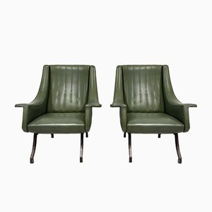 Italian Armchairs with Metal Legs, 1960s, Set of 2