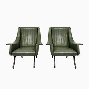 Italienische Sessel mit Füßen aus Metall, 1960er, 2er Set