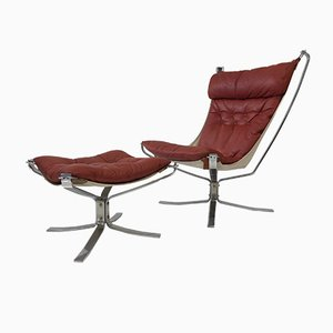 Norwegian Falcon Chair with Footstool by Sigurd Ressell for Vatne, 1970s