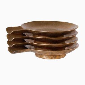 Aschenbecher in Handarbeit aus Bronze, 1950er, 4er Set