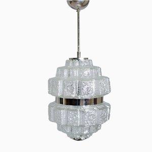 Lámpara de techo de vidrio y metal cromado, años 60