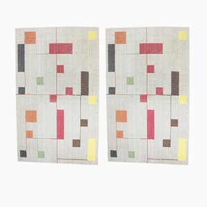Bauhaus Style Geometric Carpets, 1940s, Set of 2