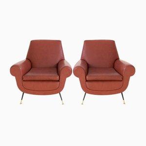 Italienische Sessel aus Kunstleder von Gigi Radice für Minotti, 1950er, 2er Set