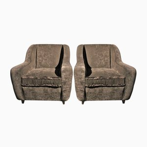 Black Velvet Armchairs, 1950s, Set of 2