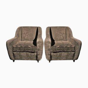 Black Velvet Armchairs, 1950s, Set of 2