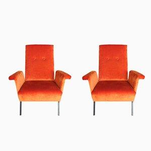 Orange Velvet Armchairs, 1970s, Set of 2