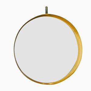Specchio circolare da parete con cornice in teak, anni '60