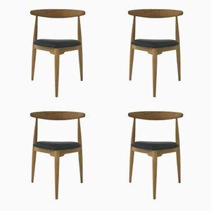 FH 4103 Dreibein Esszimmerstühle von Hans J. Wegner für Fritz Hansen, 1950er, 4er Set