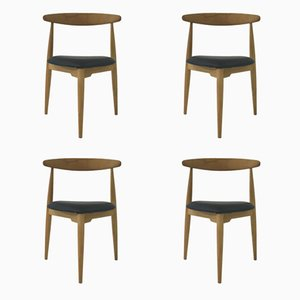 FH 4103 Heart Dining Chairs by Hans J. Wegner for Fritz Hansen, 1950s, Set of 4