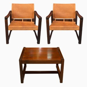 Cognac Leather Safari Chairs & Table by Karin Mobring, 1970s
