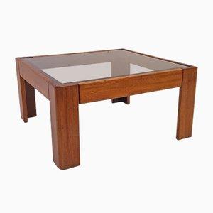 Table Basse Bastiano en Teck & Verre par Tobia Scarpa pour Knoll, 1969